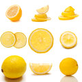 Set of juicy lemon fruit isolated over white background Stock Photos