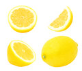 Set of juicy yellow lemons. Royalty Free Stock Photo