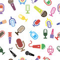 Set of karaoke related labels, badges and design elements. Karaoke club emblems. Microphones isolated on white