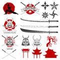 Set of karate school labels, emblems and design elements. Royalty Free Stock Photo