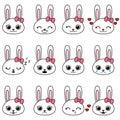 Set of kawaii cartoon bunny emotions