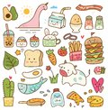 Set of kawaii doodle, food, animal, and other objects