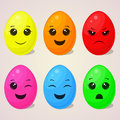 Set of kawaii Easter eggs with different emotions for your design in cartoon style. Vector illustration. Holiday