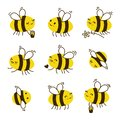 Set of kawaii honey bees