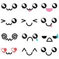Set with kawaii mimicry faces. Different muzzles