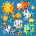 Set kawaii space objects. Doodles with pretty facial expression. Illustration of cartoon sun, earth, moon, rocket Royalty Free Stock Photo