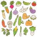 Set of kawaii vegetables on white background