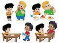 Set of Kid eating delicious food with friends.Vector
