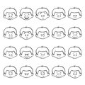 Set of kid facial emotions. Outline boy face with different expressions. Royalty Free Stock Photo