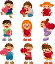 Set of kid hug heart Royalty Free Stock Photo
