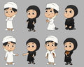 Set of kid muslim people doing activities.vector and illustration.