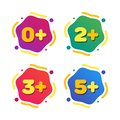 Set of kids age restrictions. Cartoon color vector illustration