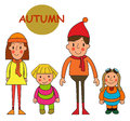 Set kids autumn season. Cute little girls and boys isolated on Royalty Free Stock Photo