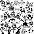 Set for kids black white big babies and little cartoon and pictures children illustration Stock Photo