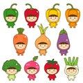 Set of kids in cute vegetables costumes