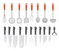 Set kitchen tools, flat style. Set cooking utensils, icons  isolated on white background. Set of tools for cooking design element. Royalty Free Stock Photo