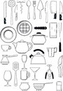 Set of kitchen utensils large thirty items on Stock Image