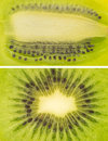 A set of kiwi close up macro shots cut in half green texture with seeds Royalty Free Stock Photo