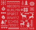 Set of knitted font, elements and borders for Christmas, New Year or winter design. Ugly sweater style. Sweater ornaments for scan