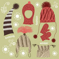 Set of knitted hats Stock Images