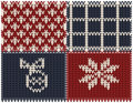 Set of knitted New Year patterns Stock Photo
