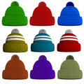 Set of knitted winter hats isolated on a white background Royalty Free Stock Images