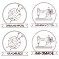 Set of knitting and sewing logos