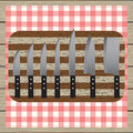 Set of knives chopping board table napkin wooden table top v elements for design view Royalty Free Stock Photography