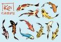 Set of Koi carps, japanese fish. colored korean animals. Sea creature. Engraved hand drawn line art Vintage tattoo