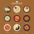Set of korean food flat design. Asia street food illustration ba