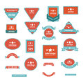 Set Of Label Design Red and Blue Color Royalty Free Stock Photo