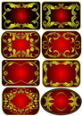 Set by  label with gold(en) pattern Stock Photography