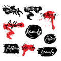 Set of labels, badges, banners with makeup lettering.