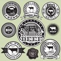 Set of labels with cow and beef vector Stock Photos