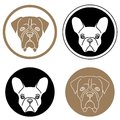 Set of labels with dog heads round Stock Photography