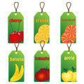 Set of labels with fruits and vegetables on a white background Royalty Free Stock Images