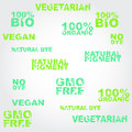 Set of labels with grunge effect signs vegetarian bio organic no dye natural dye natural pigment gmo free vegan Stock Image