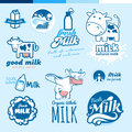 Set of labels and icons for milk daires Royalty Free Stock Photos