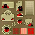 Set of labels with ladybugs Royalty Free Stock Photography