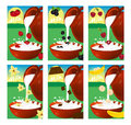 Set of labels for milk or yogurt. Strawberry, cherry, vanilla, b