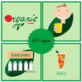 Set of labels about organic food eps Stock Images