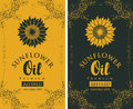 Set labels for refined sunflower oil with curlicue