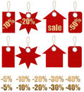 Set of labels on ropes with percent discounts