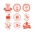 Set of labels with sewing symbols. Royalty Free Stock Photo