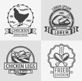 Set of labels and stamps of chicken meat. Royalty Free Stock Photo