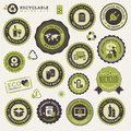 Set of labels and stickers for recycling Royalty Free Stock Photo