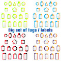 Set of labels, tags of various shapes and colors. Royalty Free Stock Photo