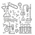 stock image of  Set of laboratory equipment in black and white outlined doodle style. Hand drawn childish chemistry and science icons set.