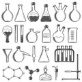 Set of laboratory research elements with flasks, tubes and molecular structure
