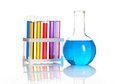 Set of laboratory test tubes and flask Royalty Free Stock Image